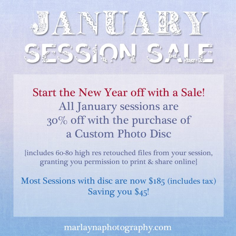 January 2012: New Photography Session Pricing & A SALE!