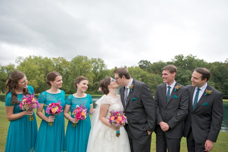 Beautiful Teal, Coral & Gold Barn Wedding :: Rain or Shine (or both!) | Kristin & Tim are married!
